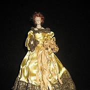 SALE Rare & Elegant Porcelain Half doll - Red hair - Stunning Dress