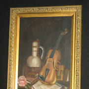 Oil on Canvas  Musical Painting - Violin with Rose & Sheet Music 24 x 12