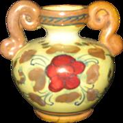 """Miniature 2"""" Vintage Vase -Italian Pottery hand painted urn c 1916 - marked"""