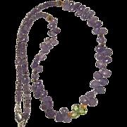 Tanzanite Briolette Peridot Briolette Bali Sterling Silver Necklace