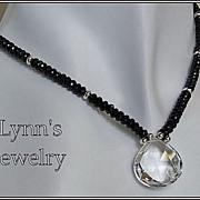 Clear Rock Crystal Quartz Faceted Black Spinel Sterling Silver Necklace