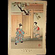 "SHUNTEI MIYAGAWA (1872-1914) ""Hide And Seek"" Meiji Period Original Woodblock Print"