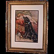 """Reclining Child & Large Black Dog""  Victorian Print"