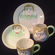 NIPPON 1911-1921 Googly Eyed Child's China Dishes 4-piece Set