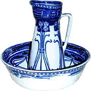 ROYAL DOULTON - 1903 'Aubrey' Flow Blue Art Nouveau Basin & Jug/Pitcher - Ironstone China