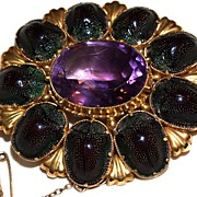 Huge 18K Egyptian Revival Amethyst & Scarab Beetle Brooch - 18 Karat (tested)