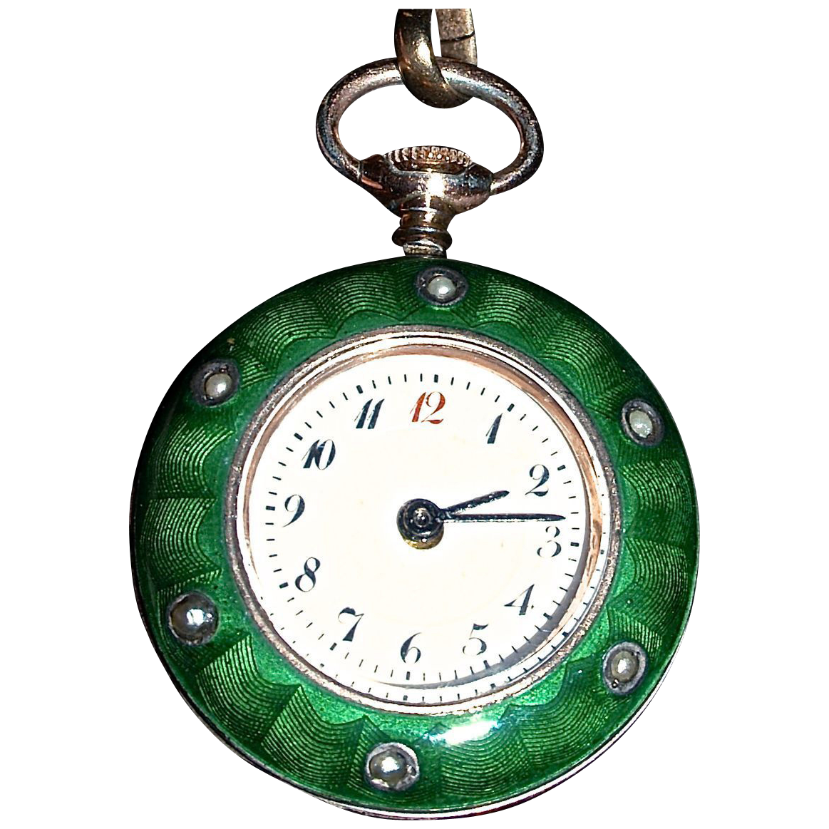 LADY'S GREEN GUILLOCHE  17J   Watch & Fob Necklace - Seed Pearls & a Diamond