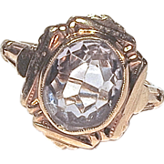 RING - Aquamarine - 10K Yellow Gold