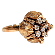 14 Karat Gold Poppy Pod/Lotus Flower with Mine-Cut Diamond Cluster Center