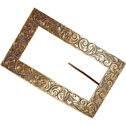 VICTORIAN BUCKLE PIN - Very Large Ornate Repose Sterling Brooch