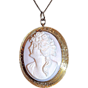 Pink Angel Coral Cameo Pendant - Chain & Bezel 9K Gold