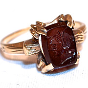 Victorian Carnelian Intaglio Cameo 1Ring - 10 Karat Rose Gold