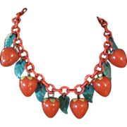 RARE 1930s Bakelite Strawberry Necklace