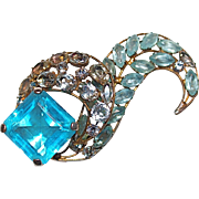 "Large 3"" Signed Vogue Unfoiled Blue Topaz & Clear Crystal  Brooch"