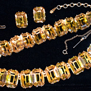 SCHIAPARELLI 1930s Parure - Large Emerald-Cut Citrine Crystal Necklace, Bracelet & Clip-On Ear