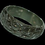 "Pierced & Heavily Carved 1"" Spinach-Green Bakelite Bracelet/Bangle"