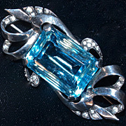 MARCEL BOUCHER  'AQUAMARINE' Sterling Rhinestone Brooch/Pin, Signed
