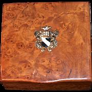 RUSSIAN ROMANOV  Era Karelian Beechwood Burl Cigarette Box - Dovetail Seamless Hidden Hinge - Edwardian Era