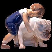 TWO FRIENDS FIGURINE #1790 By Bing & Grondahl (B&G) - Boy Hugging Bulldog/Mastiff