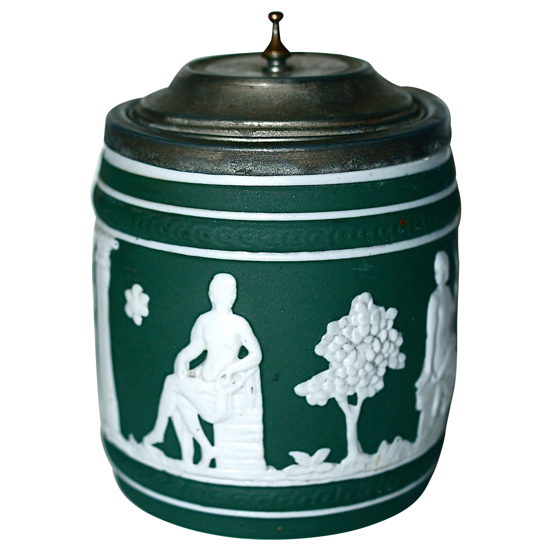 JASPERWARE - Green Tobacco Jar/Humidor - Pewter Rim & Tip