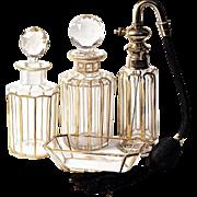BACCARAT 22K Gold Trim Atomizer - 6-pc  Dresser/Vanity Perfume Set - Signed Parisienne Bite S.