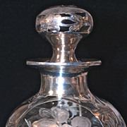 Art Nouveau Sterling Overlay/Deposit ABP Crystal Perfume Bottle