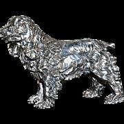 Large Sterling Silver Spaniel Dog Sculpture