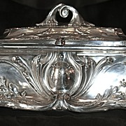 Huge Ca. 1884 Antique Jugendstil Art Nouveau Sterling Silver Casket - Jewelry Box/Chest