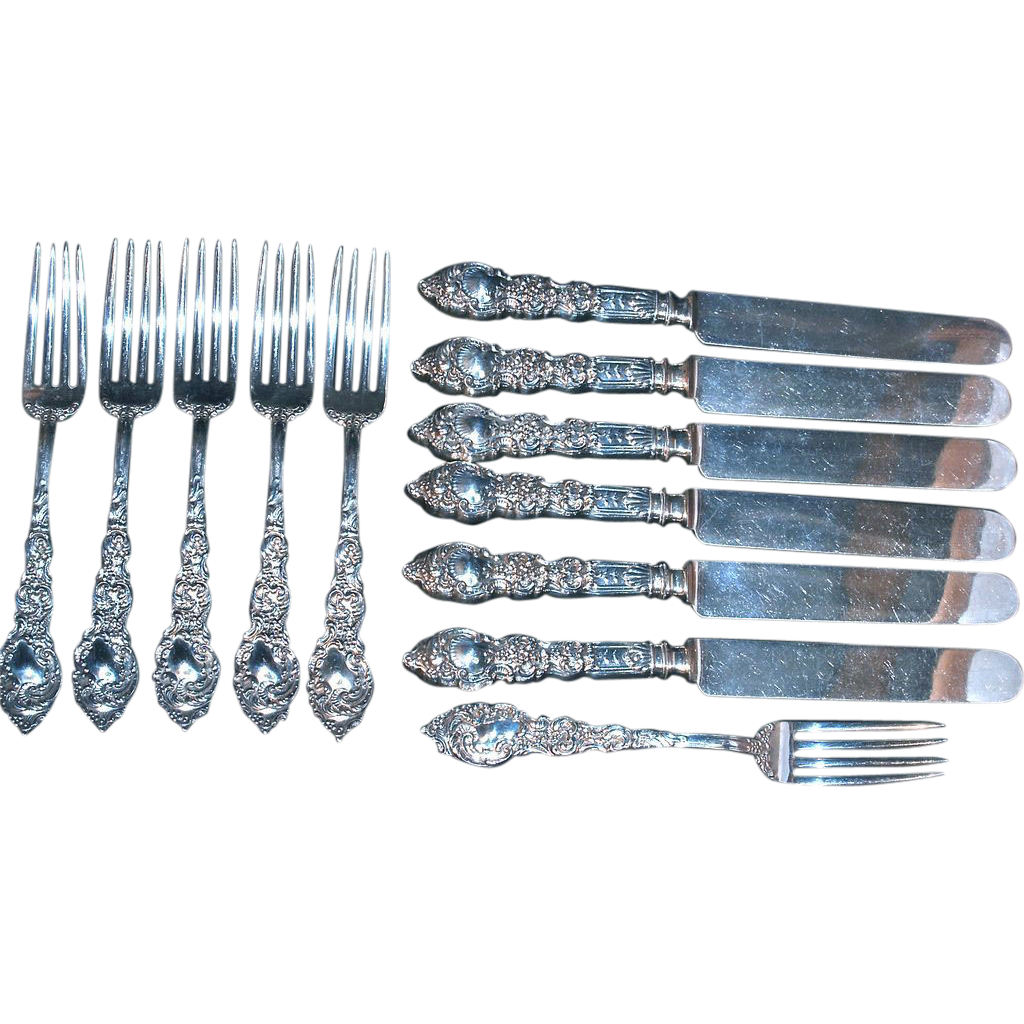 UNGER BROS. - 12-pcs. 'Passaic' Luncheon Knives & Forks Sterling Flatware