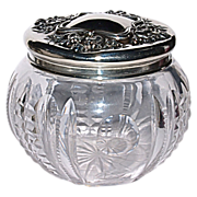 American Brilliant Cut Period Crystal Dresser Jar - Sterling Top