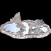 Pr. FIGHTING COCKS on Beveled Mirror - Peruvian - Sterling Silver