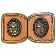 Green Lucite/Bakelite Scarab Belt Buckle