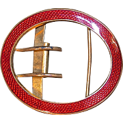 Art Deco Red Guilloche Enamel Belt Buckle - Gilt Metal