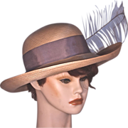 MR JOHN - Natural Straw Wide brim Picture Hat with Feather Accent