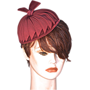 CHAPEAUX original - Deep Red Grosgrain on Silk Velvet Pillbox Hat