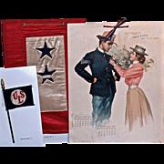 WWI MEMORABILIA: Service Flags & 1899 Armour's Army & Navy Art Calendar 'Sweet Moments'