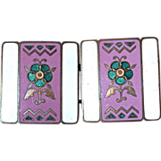 Champleve Belt Buckle - Edwardian White-Mauve-Green-Gold Enamel