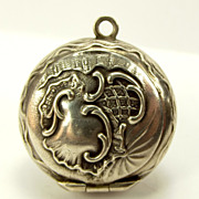 Antique 800 Silver French Chatelaine Poudrier Powder Compact & Puff