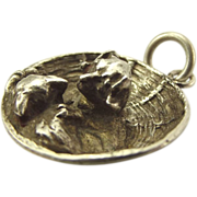 Unique Antique German Silver Charm CAT In DOG BASKET