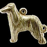 Vintage 1977 Sterling Silver AFGHAN Hound Dog Large Charm Fob Pendant