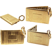 Vintage 18ct Gold CIGARETTE Case Charm Opens 15 Silver Cigarettes