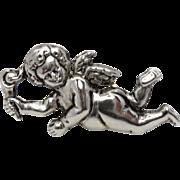 Antique Silver Cherub/Putti Brushing Hair Brooch/Pin