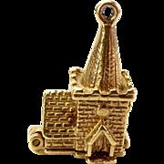 Vintage 9ct Gold CHURCH Charm Opens WEDDING