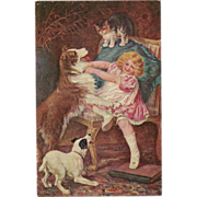 SOLD Undivided Postcard of Girl with Dogs and Cat - Red Tag Sale Item