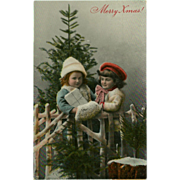 Vintage Photo Postcard of Two Children with Christmas Tree