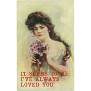 Vintage Postcard of Lovely Lady - Sweet Peas - 1907