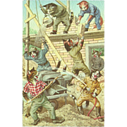 Mainzer Dressed Cats Postcard - Building and Playing - Printed in Belgium