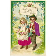 Vintage Embossed Postcard of Boy and Girl Embellished with Silk - Birthday