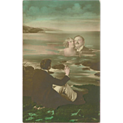 Vintage Tinted Photo Fantasy Postcard of Man and Woman in Water
