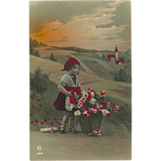 Vintage French Tinted Photo Postcard of Young Girl with Flowers